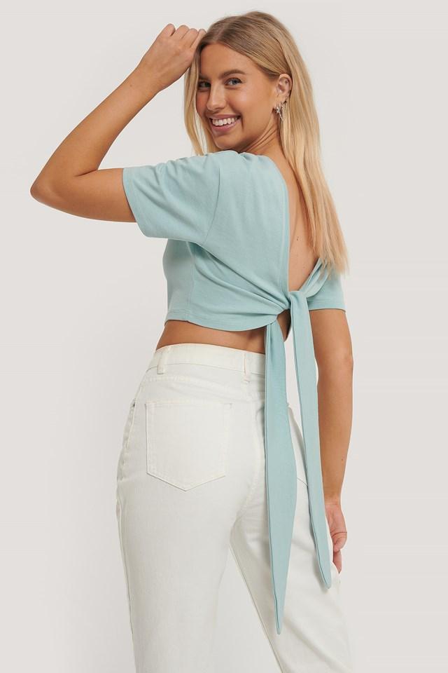Tied Back T-Shirt Dusty Blue