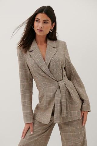 Checked Tie Waist Checked Blazer