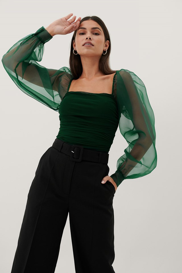 Organza Sleeves Top Dark Green