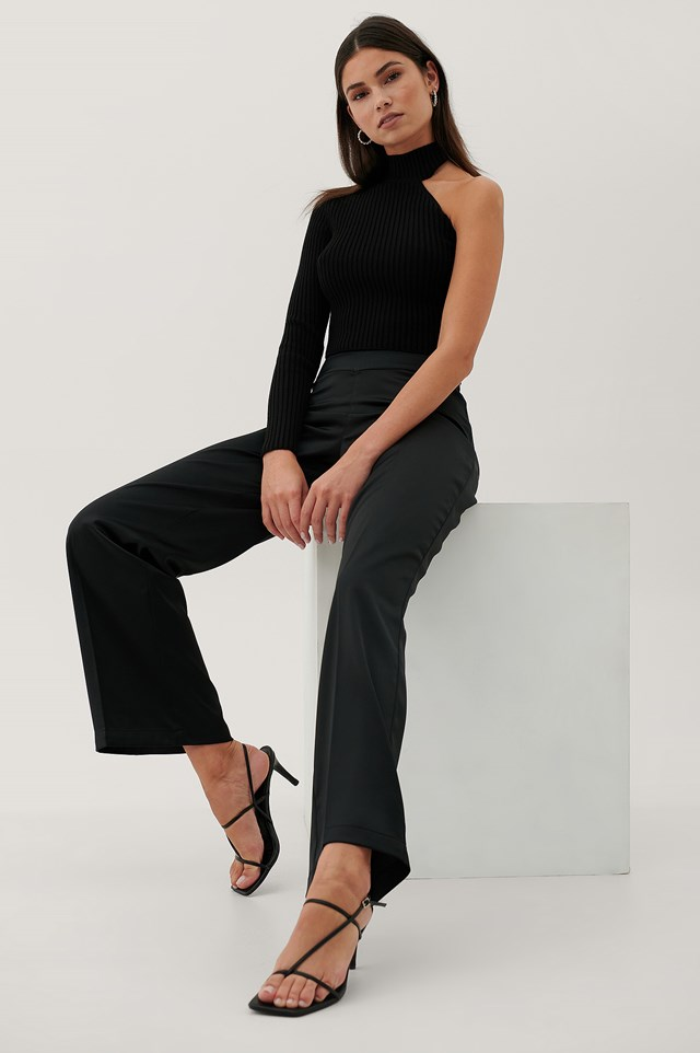 Recycled V-Shaped Waist Suit Pants Black