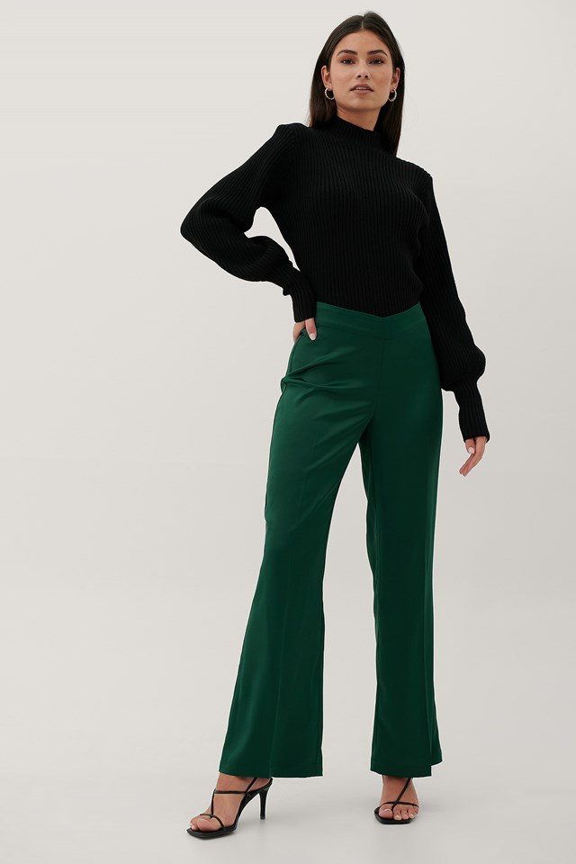 Recycled V-Shaped Waist Suit Pants Emerald Green