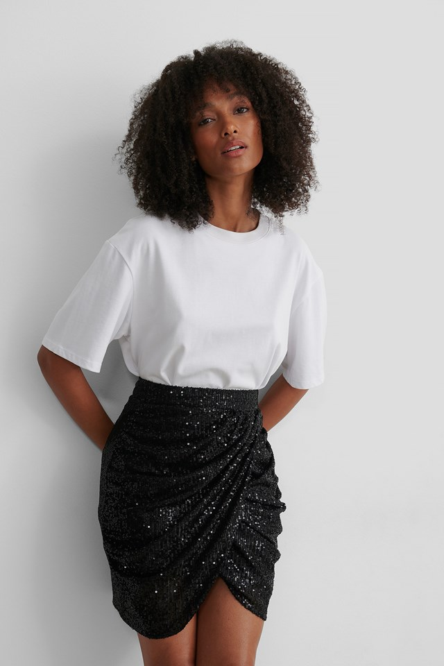 Draped Sequin Skirt Black
