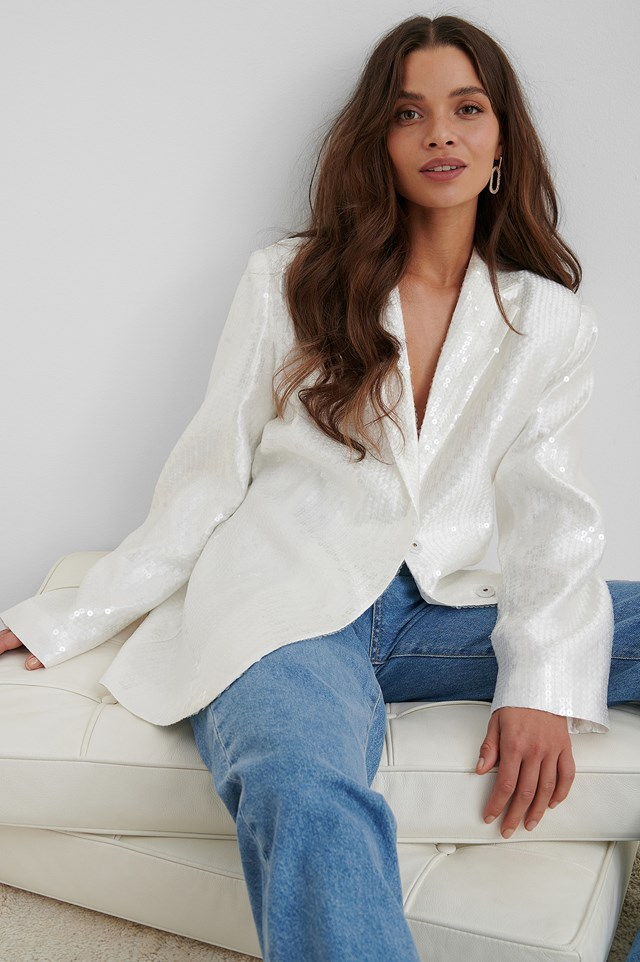 Oversized Sequin Blazer Offwhite