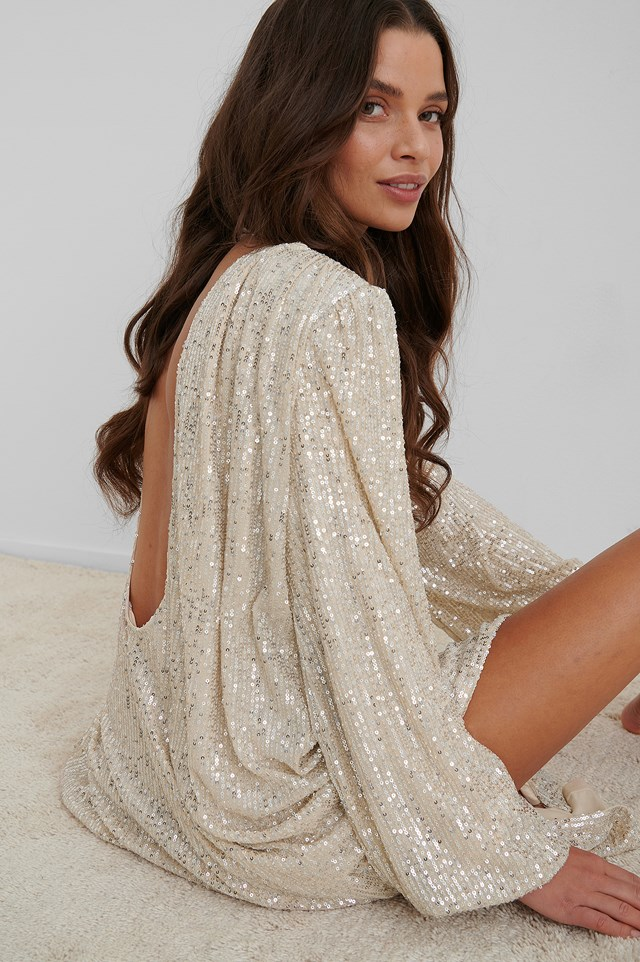 Oversized Sequin Maxi Dress Beige