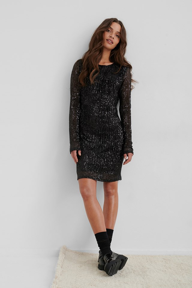 Sequin Round Neck Mini Dress Black
