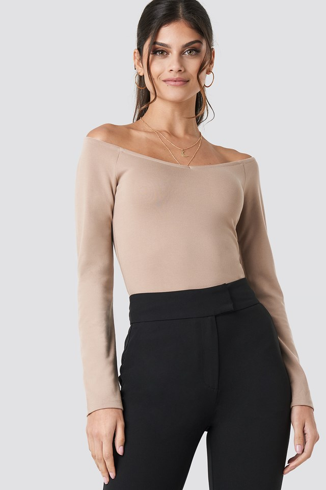 Off Shoulder V Detail Jersey Taupe