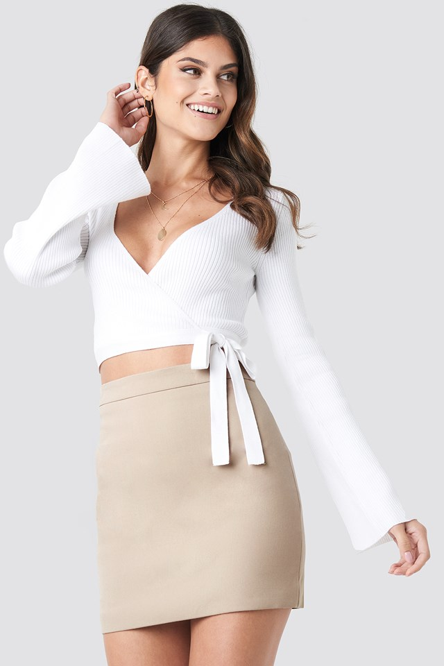 Tailored Mini Skirt Taupe