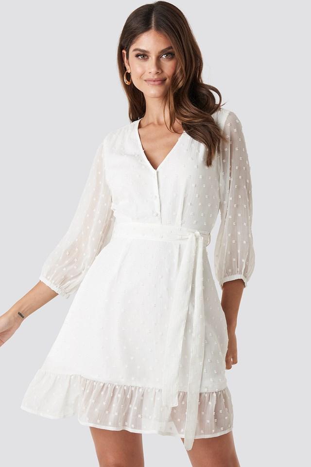 Balloon Sleeve Tied Waist Dress White