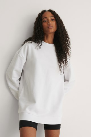 White Big Dropped Shoulder Sweatshirt