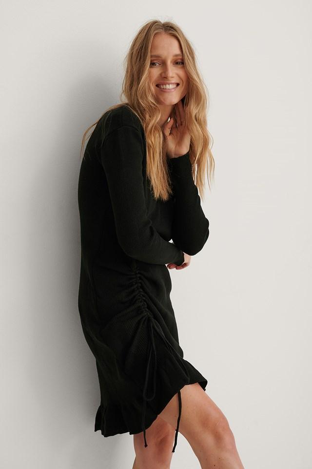Black Pleated Side Detailed Mini Dress