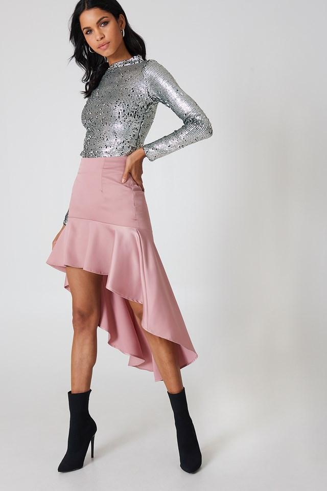 Asymmetric Frill Skirt Pink