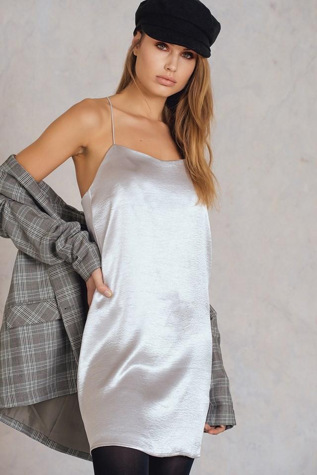 Cross Back Dress Silver