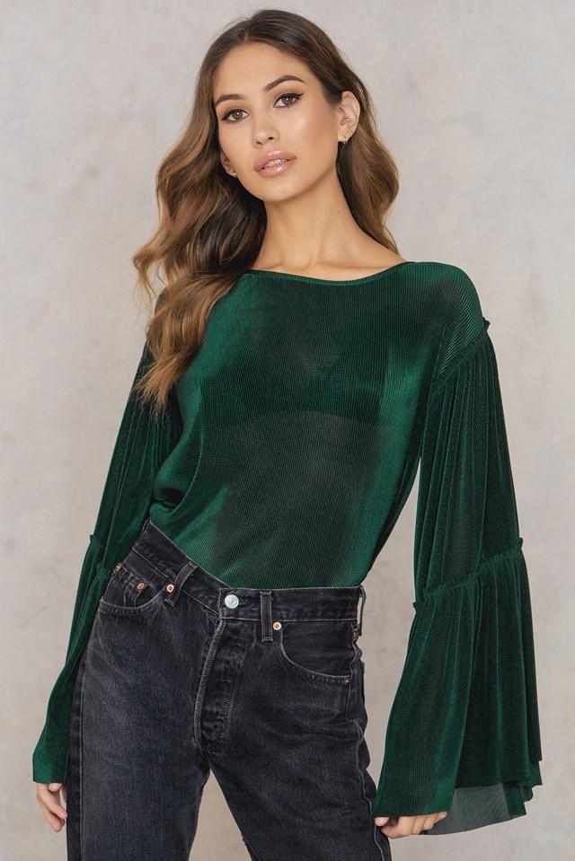 Plisse Wide Sleeve Top Green