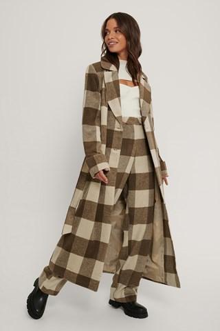 Light Beige Checked Coat