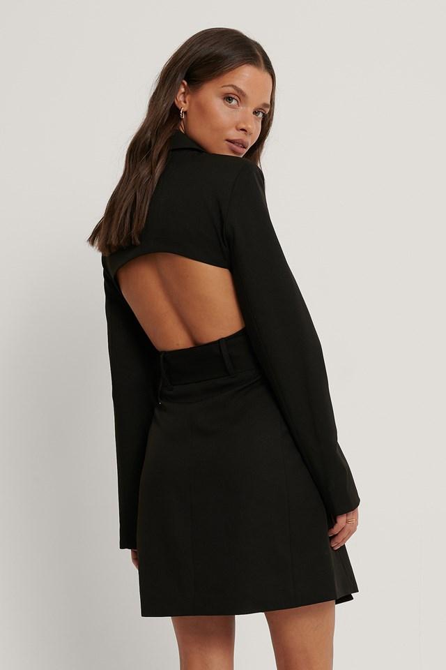 Open Back Blazer Dress Black