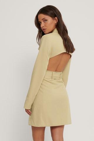Light Beige Open Back Blazer Dress