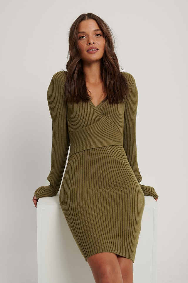 Ribbed Knitted Dress Olive Green