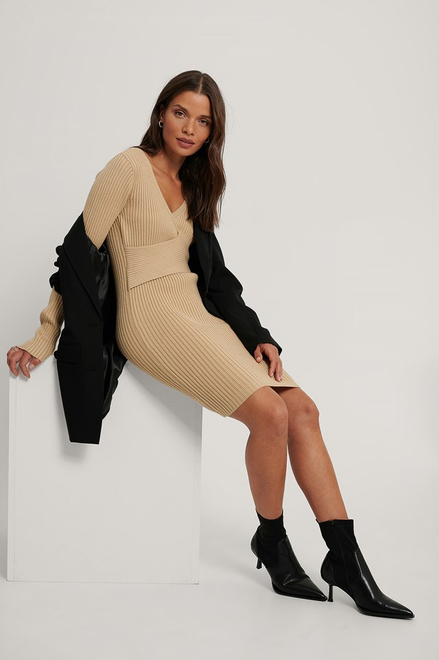 Ribbed Knitted Dress Light Beige