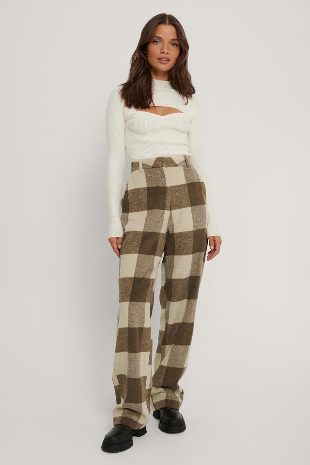 Wide Checked Pants Light Beige