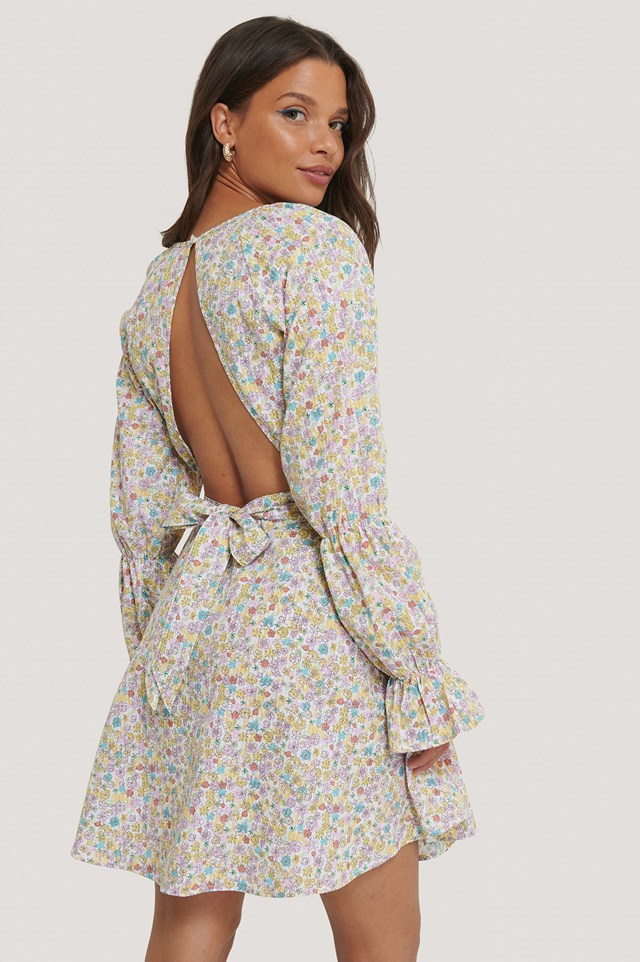 Seersucker Open Back Dress Flower Print