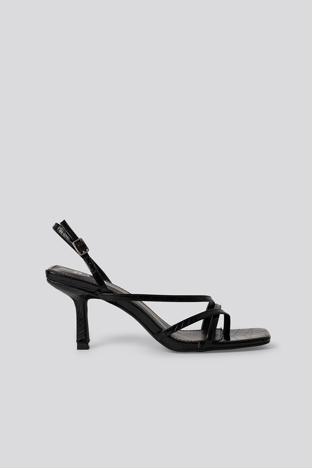 Anina Sandal Black Croc Pu