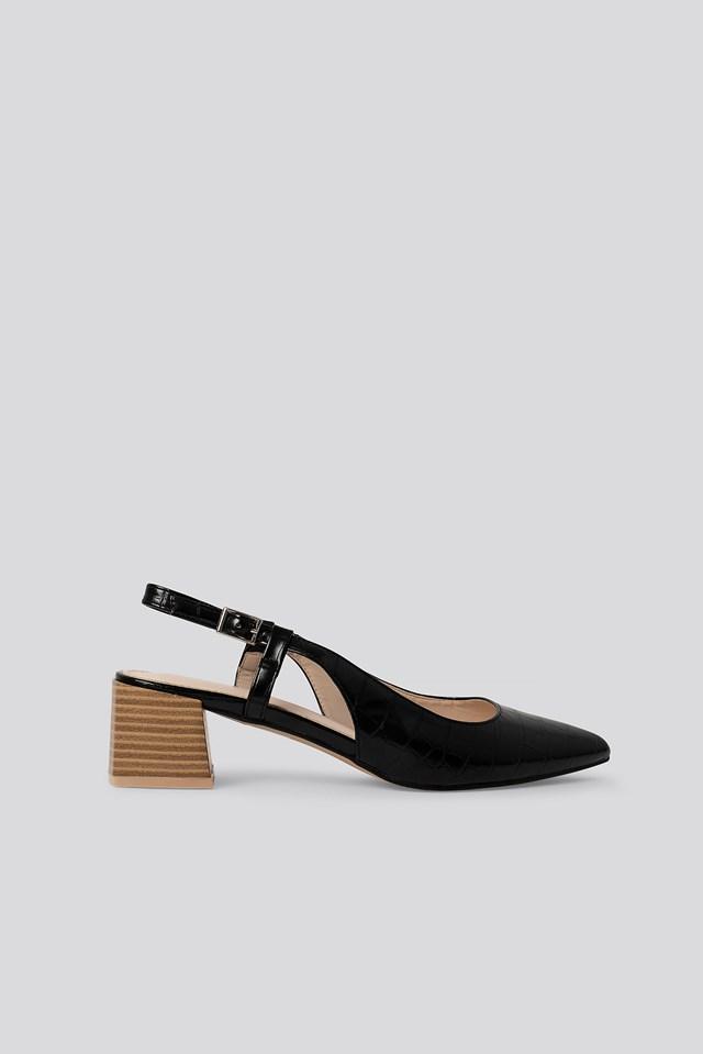 Felice Block Heel Black Croc Pu