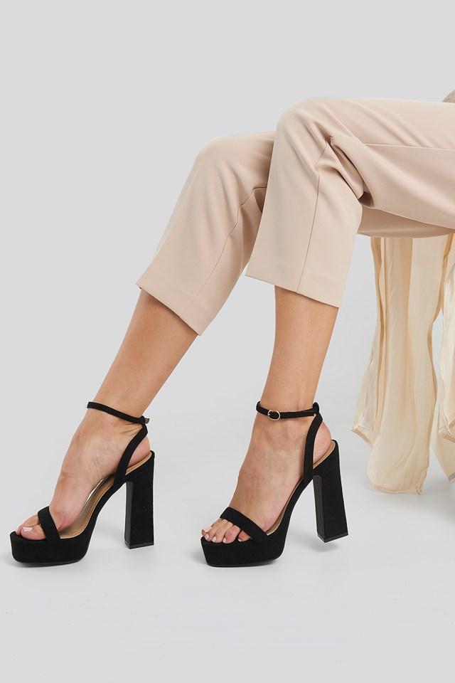 Gianna Heel Platform Sandal Black Suede
