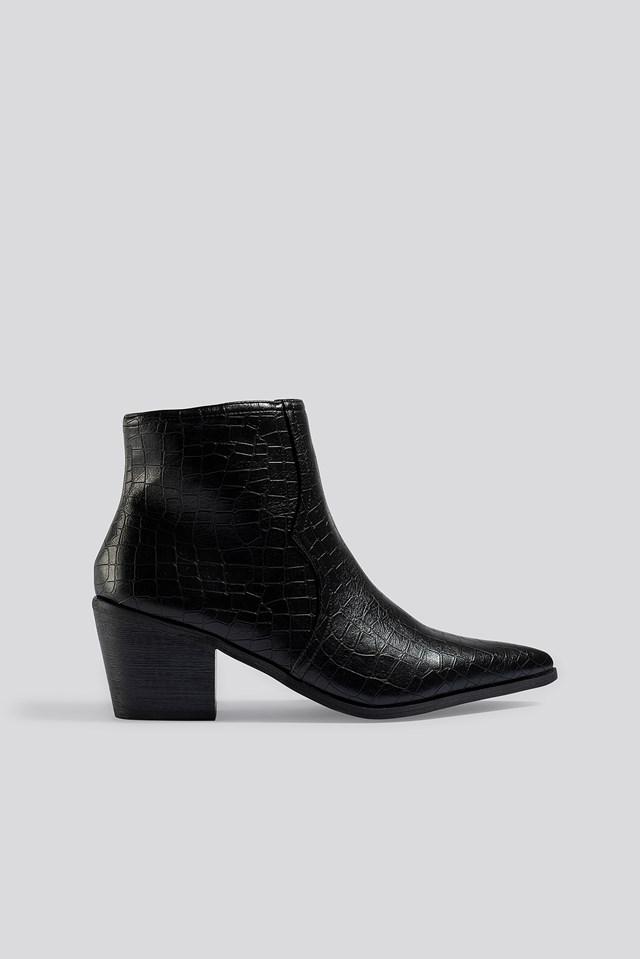 Joyce Ankle Boots Black Croc Pu