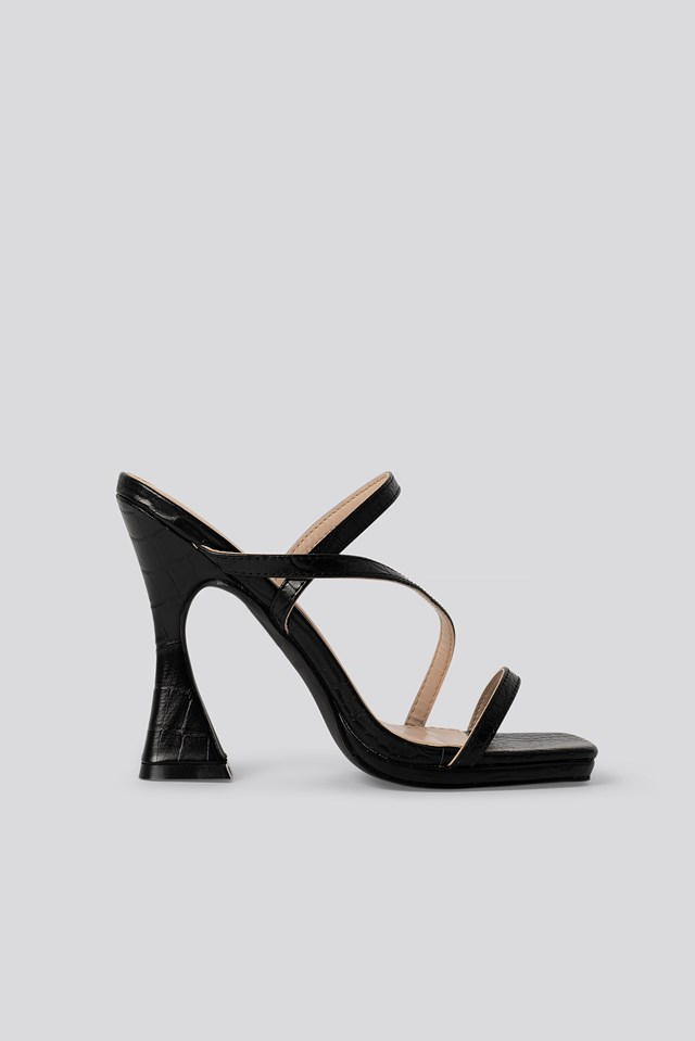Mallory Sandal Black Croc Pu
