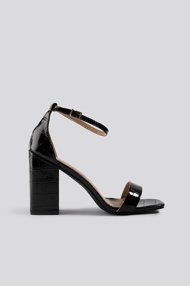 Raelynn Block Heel Sandal Black Patent