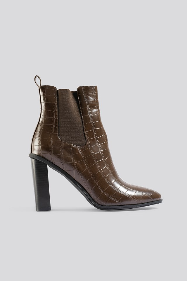 Scarlette Ankle Boots Brown Croco