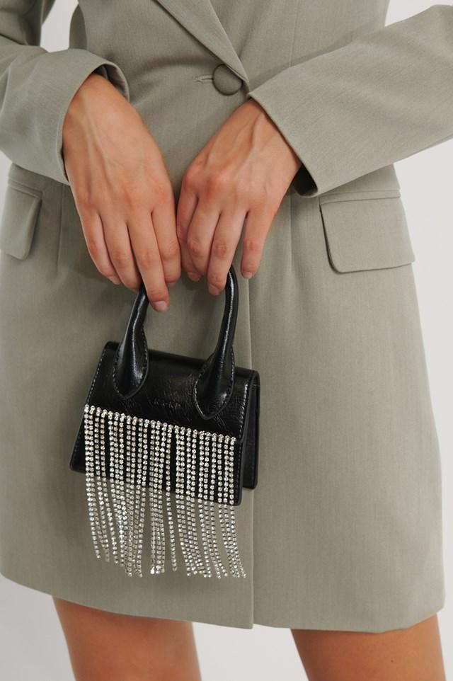 Rhinestone Micro Top Handle Bag Black