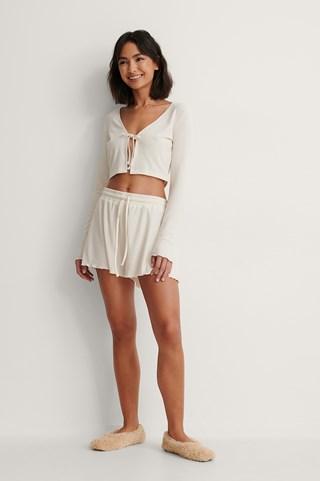 Offwhite Ribbed Loungewear Shorts