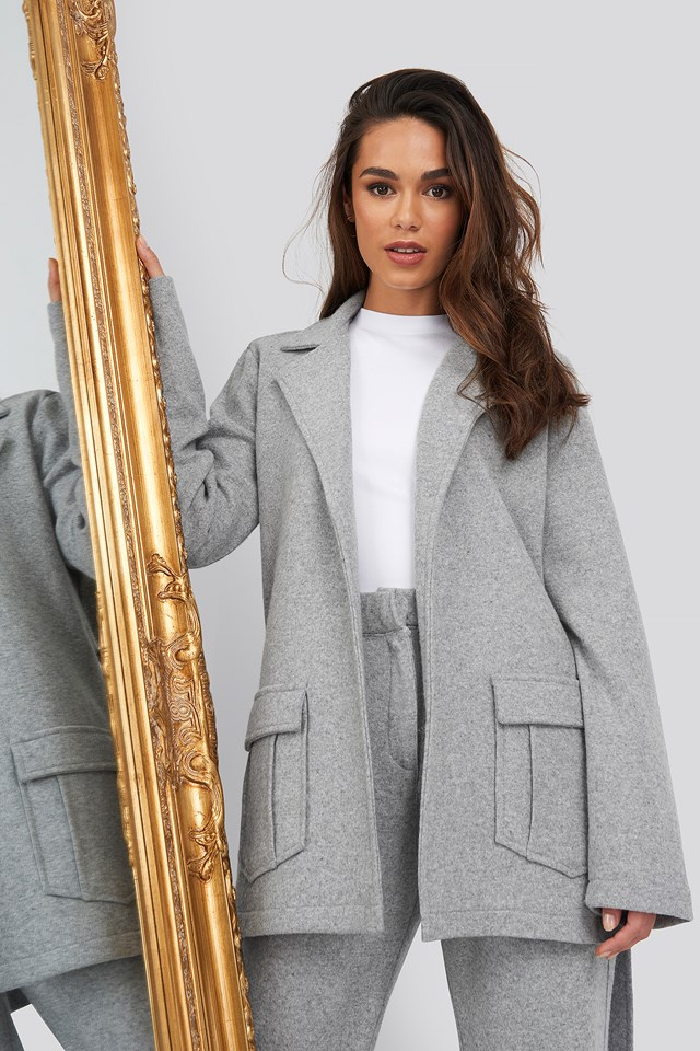 Front Pocket Oversized Blazer Grey