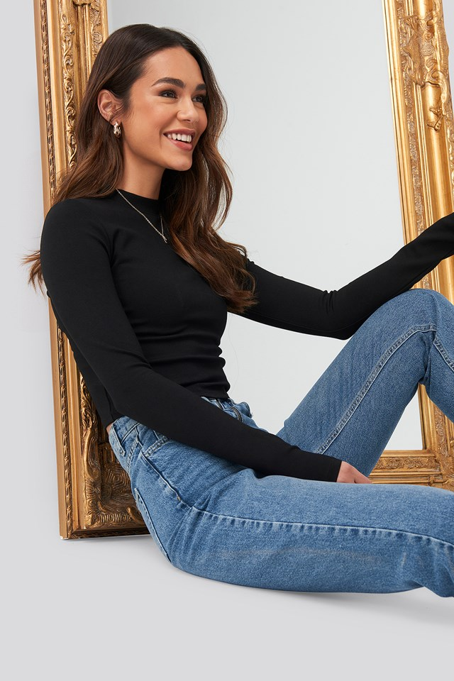 Turtle Neck Cropped Top Black