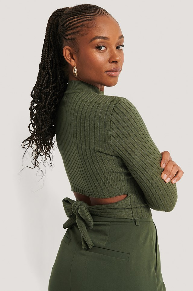 Tied Back Knitted Top Dark Green