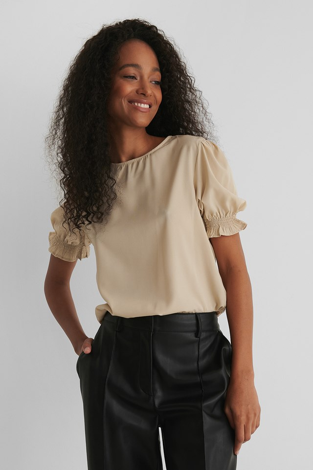Round Neck Shirred Sleeve Top Grey Feather