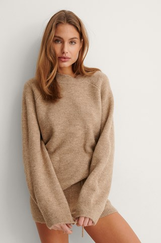 Beige Round Neck Long Sleeve Knitted Sweater
