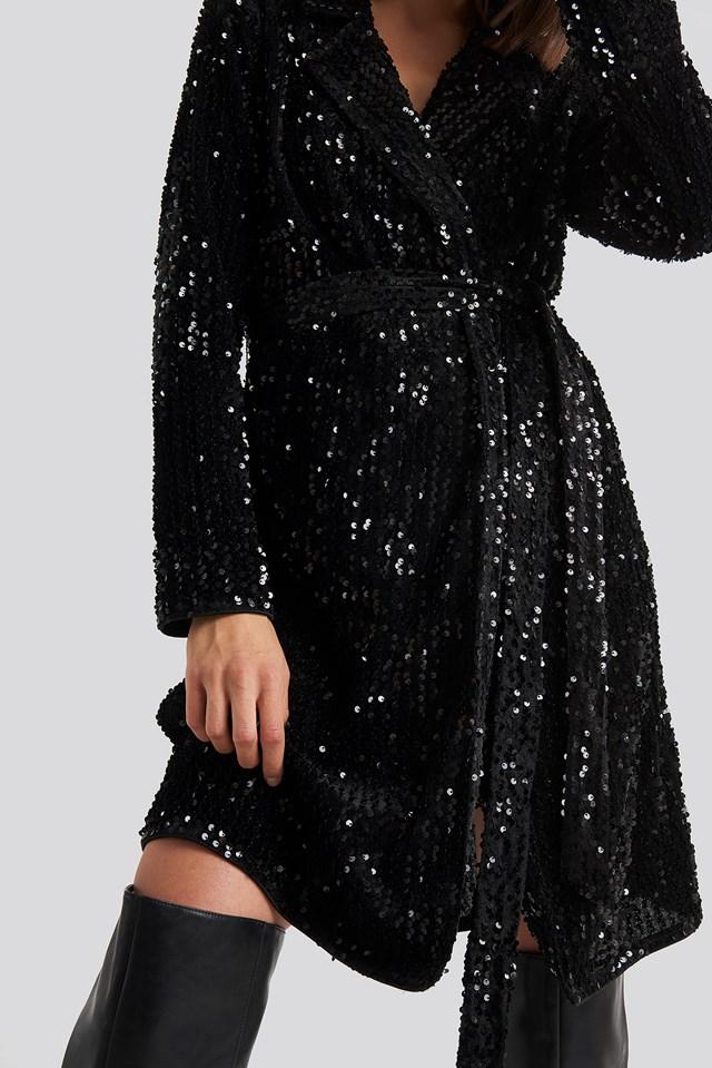 Nea Wrap Dress Black Sequin