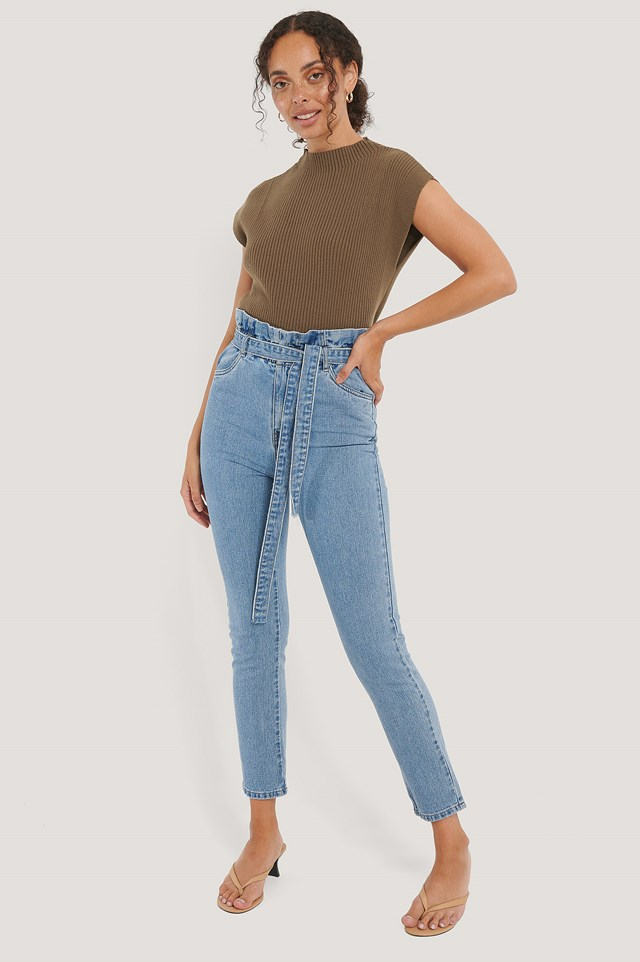 Danielle Paper Waist Jeans Denim Blue