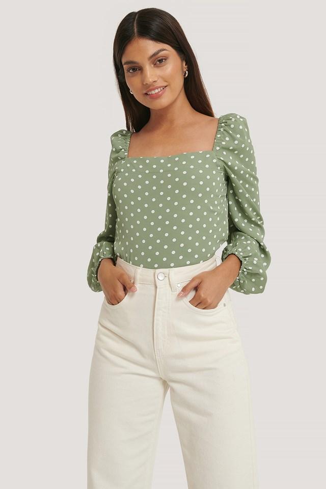 Cleo Blouse Tea Green Dot