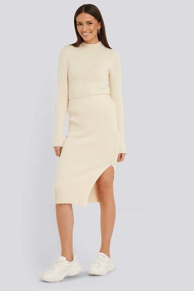 Sabina Knit Skirt Light Beige