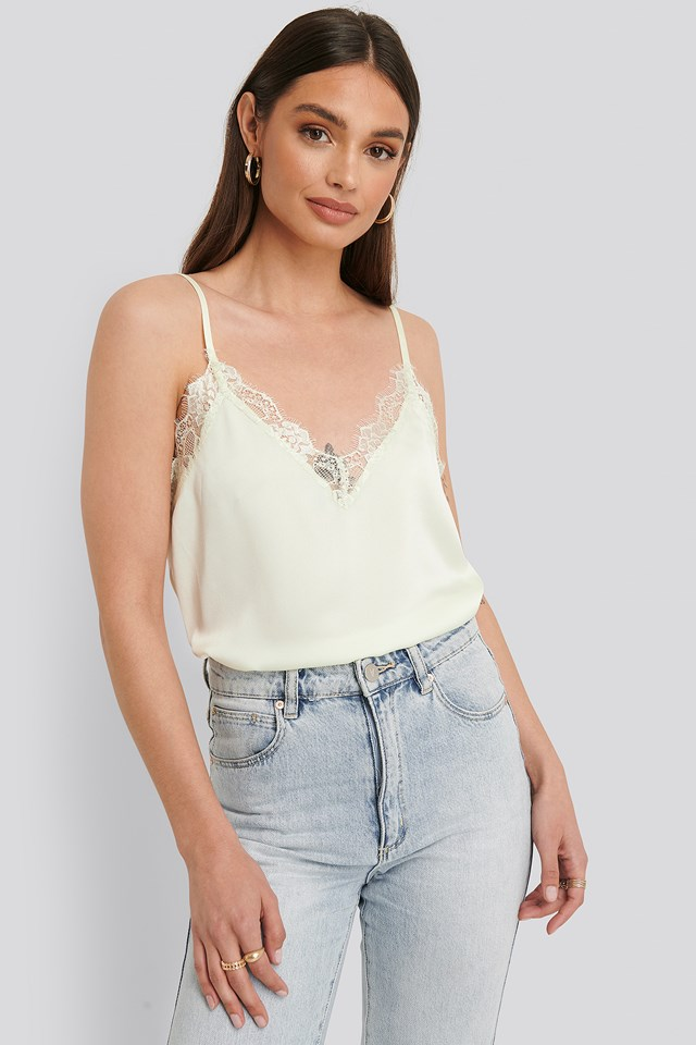 Tina Lace Singlet Cream/White