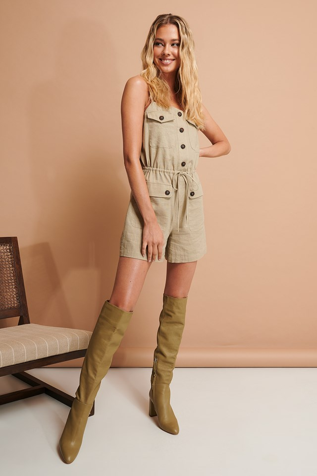 Buttoned Playsuit Beige
