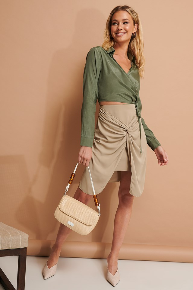 Knot Detail Skirt Beige