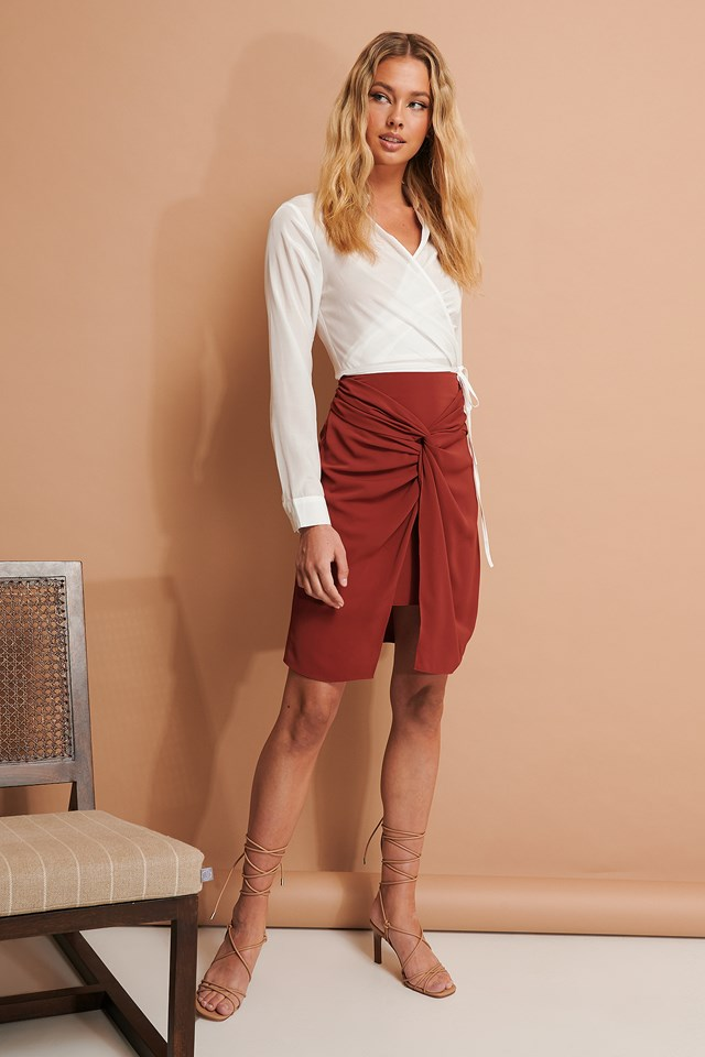 Knot Detail Skirt Burgundy