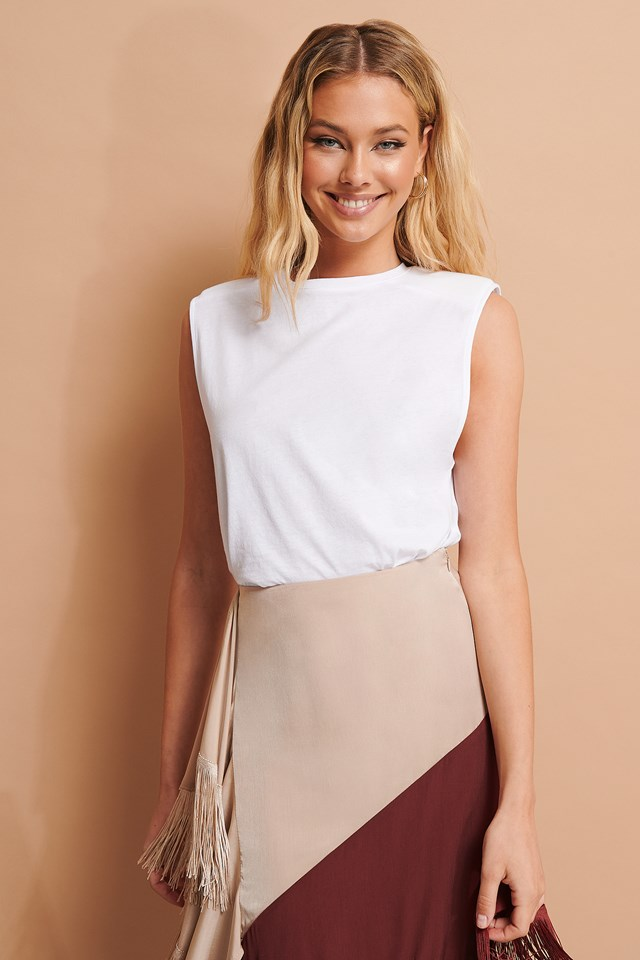 Padded Shoulder Top White