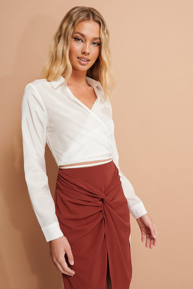 Tie Detail Cropped Shirt White