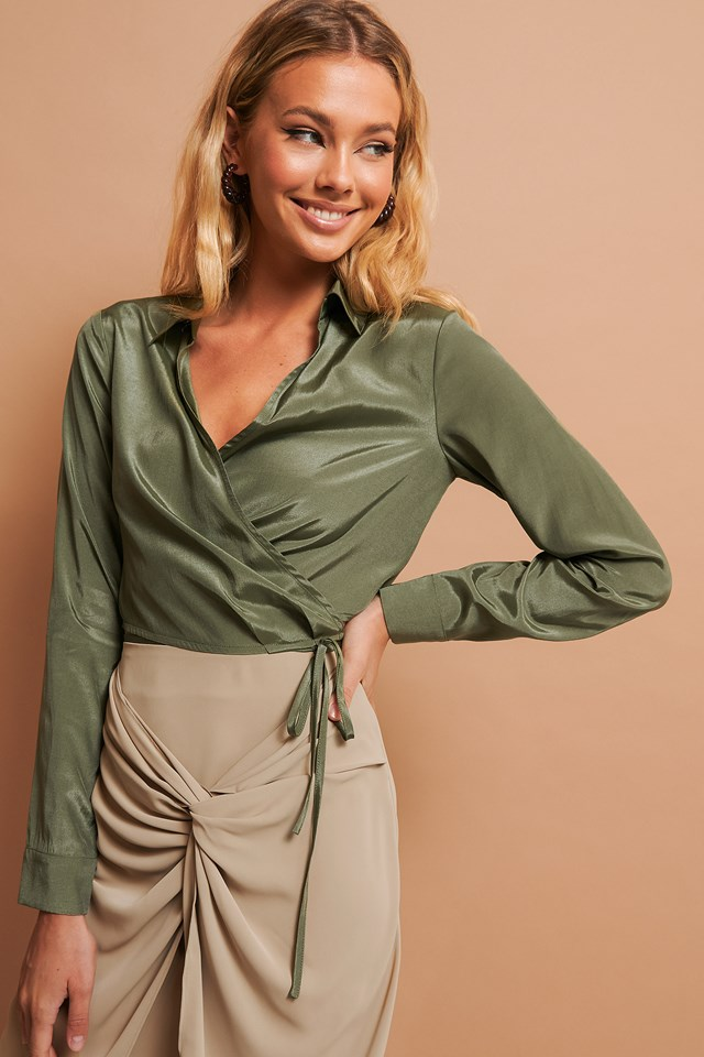 Tie Detail Cropped Shirt Green