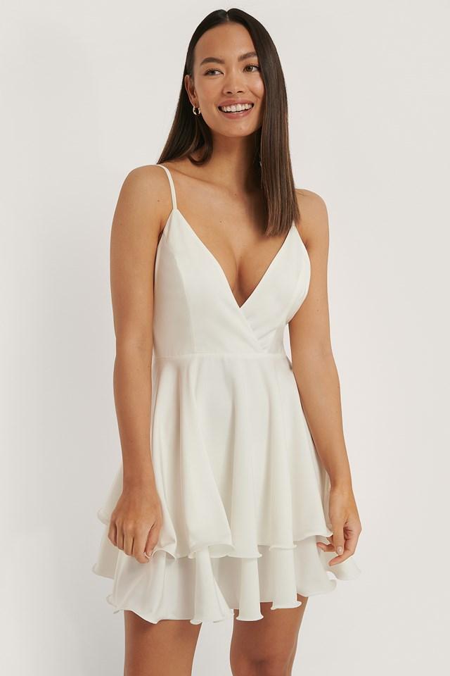 Overlap Deep Front Mini Dress White